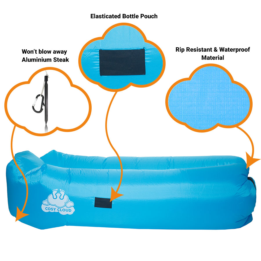 Inflatable Lounger Blow Up Air Sofa Beach Pool Sun Bed